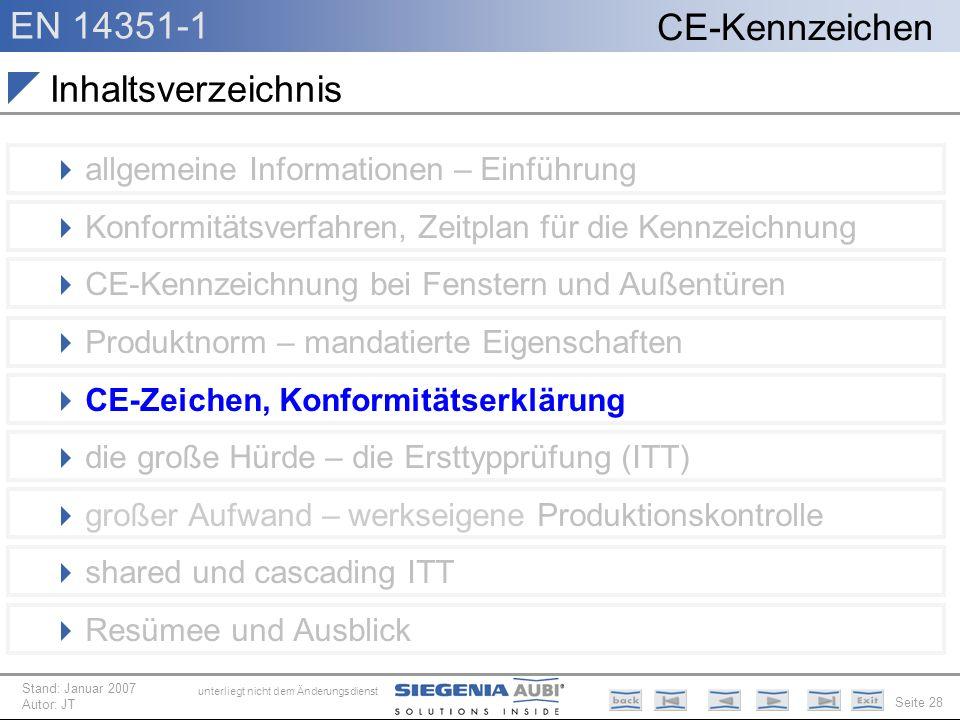 EN 14351-1 Seite 28 CE-Kennzeichen unterliegt nicht dem Änderungsdienst Stand: Januar 2007 Autor: JT Inhaltsverzeichnis allgemeine Informationen – Ein