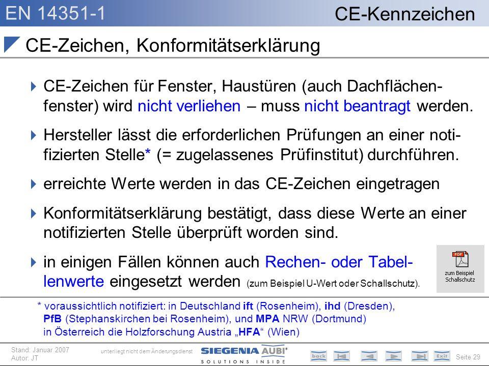 EN 14351-1 Seite 29 CE-Kennzeichen unterliegt nicht dem Änderungsdienst Stand: Januar 2007 Autor: JT CE-Zeichen, Konformitätserklärung CE-Zeichen für