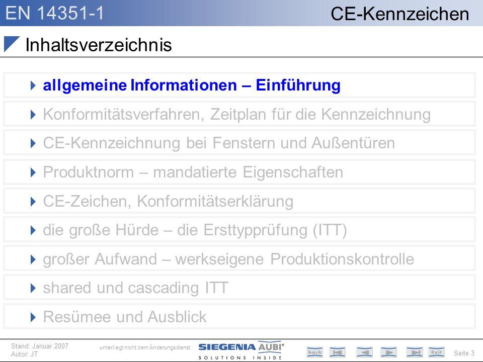 EN 14351-1 Seite 3 CE-Kennzeichen unterliegt nicht dem Änderungsdienst Stand: Januar 2007 Autor: JT allgemeine Informationen – Einführung Konformitäts