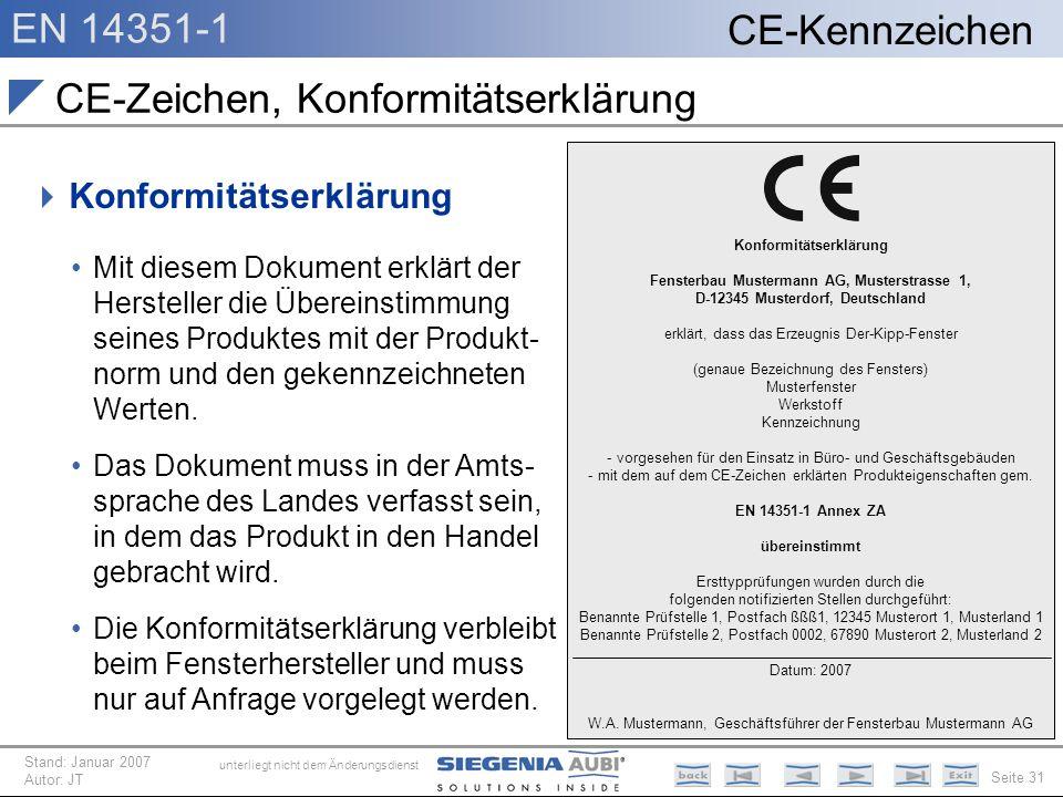EN 14351-1 Seite 31 CE-Kennzeichen unterliegt nicht dem Änderungsdienst Stand: Januar 2007 Autor: JT CE-Zeichen, Konformitätserklärung Konformitätserk