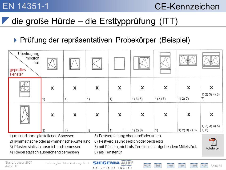 EN 14351-1 Seite 36 CE-Kennzeichen unterliegt nicht dem Änderungsdienst Stand: Januar 2007 Autor: JT die große Hürde – die Ersttypprüfung (ITT) Prüfun
