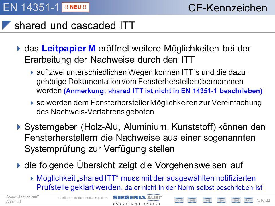 EN 14351-1 Seite 44 CE-Kennzeichen unterliegt nicht dem Änderungsdienst Stand: Januar 2007 Autor: JT shared und cascaded ITT das Leitpapier M eröffnet