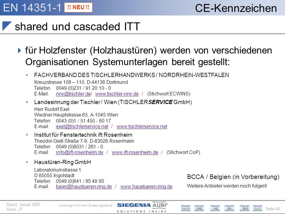 EN 14351-1 Seite 46 CE-Kennzeichen unterliegt nicht dem Änderungsdienst Stand: Januar 2007 Autor: JT shared und cascaded ITT für Holzfenster (Holzhaus