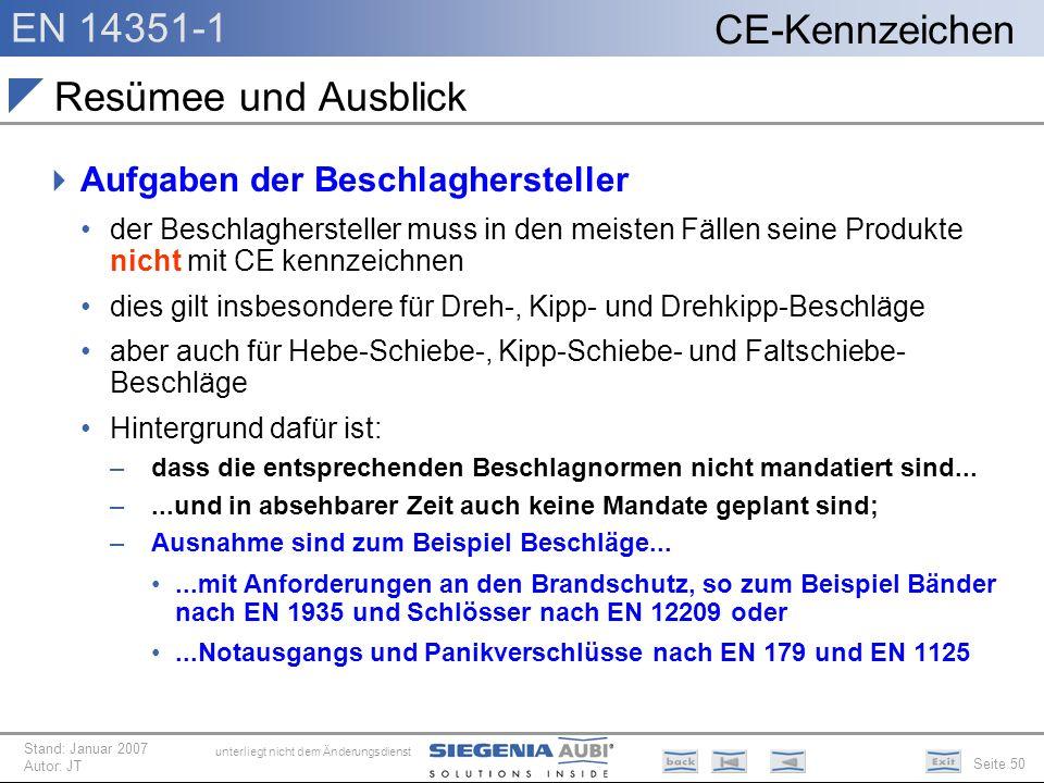 EN 14351-1 Seite 50 CE-Kennzeichen unterliegt nicht dem Änderungsdienst Stand: Januar 2007 Autor: JT Resümee und Ausblick Aufgaben der Beschlagherstel