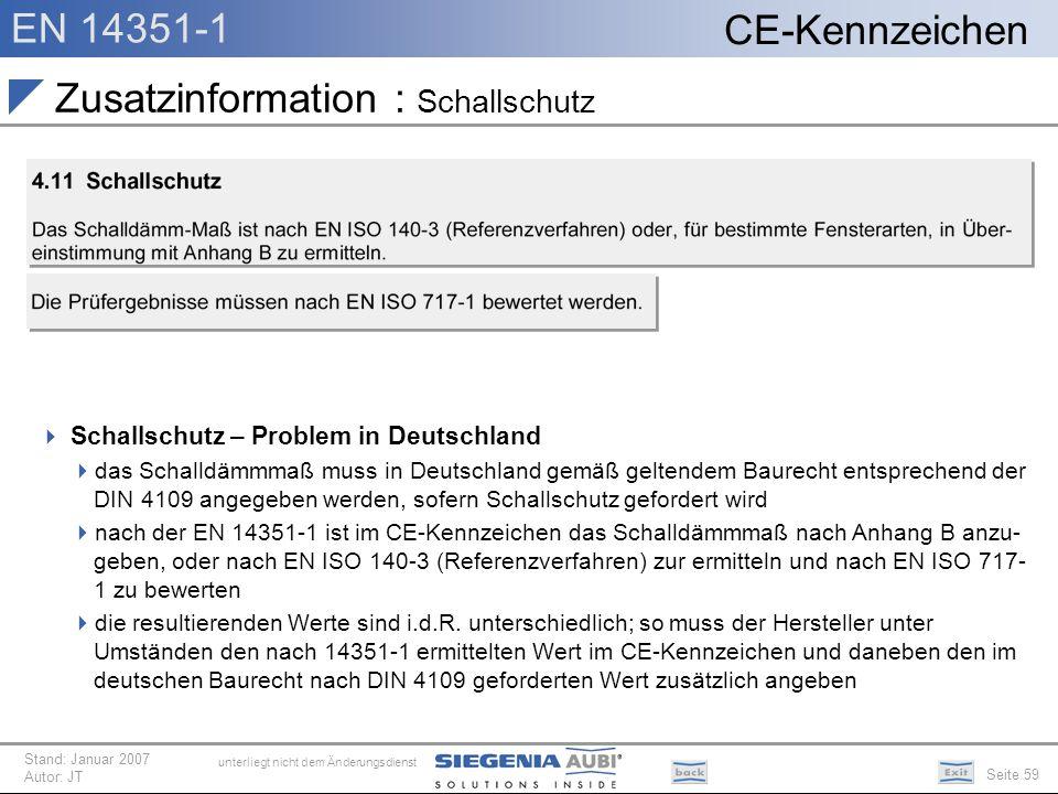 EN 14351-1 Seite 59 CE-Kennzeichen unterliegt nicht dem Änderungsdienst Stand: Januar 2007 Autor: JT Zusatzinformation : Schallschutz Schallschutz – P