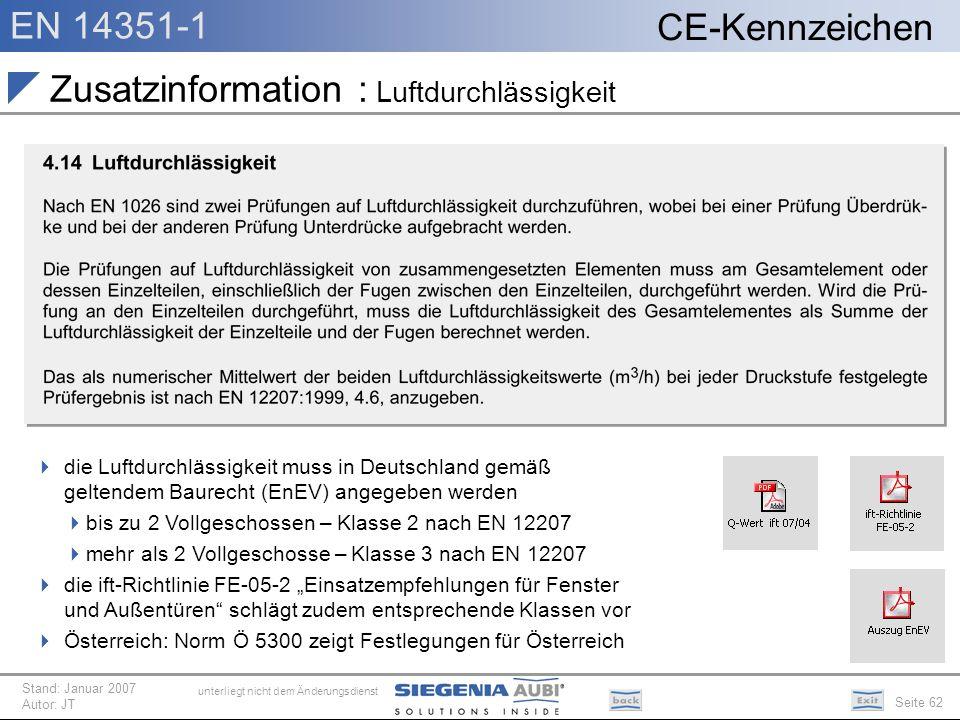EN 14351-1 Seite 62 CE-Kennzeichen unterliegt nicht dem Änderungsdienst Stand: Januar 2007 Autor: JT Zusatzinformation : Luftdurchlässigkeit die Luftd