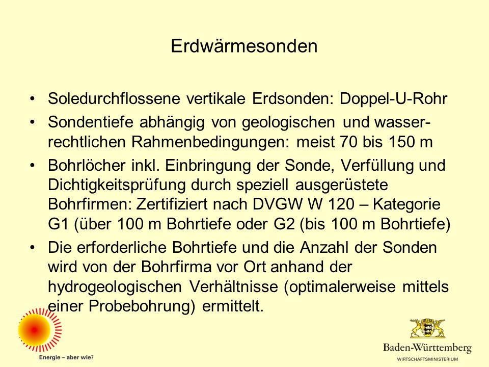 Erdwärmesonden Soledurchflossene vertikale Erdsonden: Doppel-U-Rohr Sondentiefe abhängig von geologischen und wasser- rechtlichen Rahmenbedingungen: m