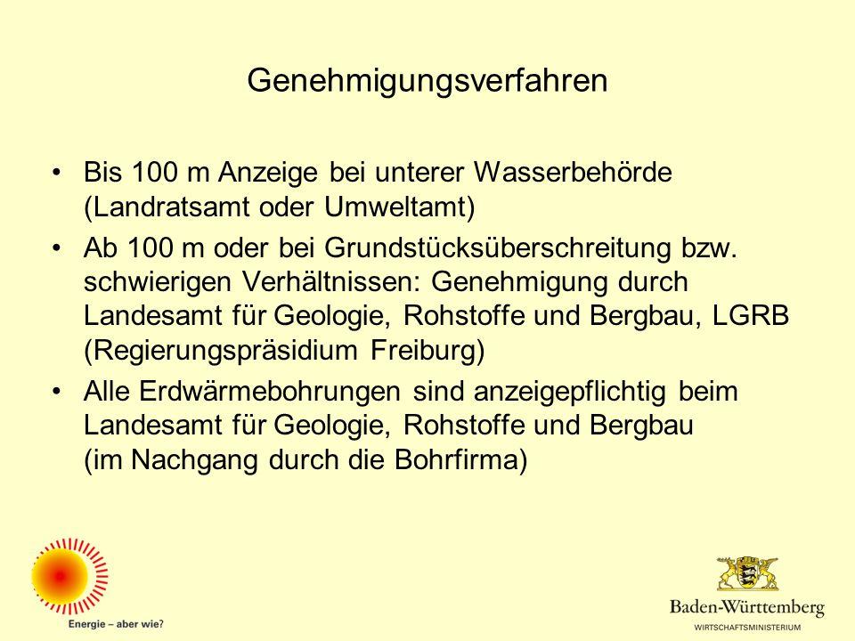 Genehmigungsverfahren Bis 100 m Anzeige bei unterer Wasserbehörde (Landratsamt oder Umweltamt) Ab 100 m oder bei Grundstücksüberschreitung bzw. schwie