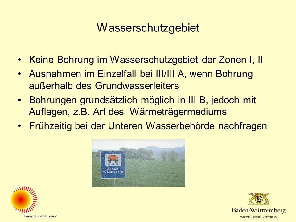 Wasserschutzgebiet Keine Bohrung im Wasserschutzgebiet der Zonen I, II Ausnahmen im Einzelfall bei III/III A, wenn Bohrung außerhalb des Grundwasserle