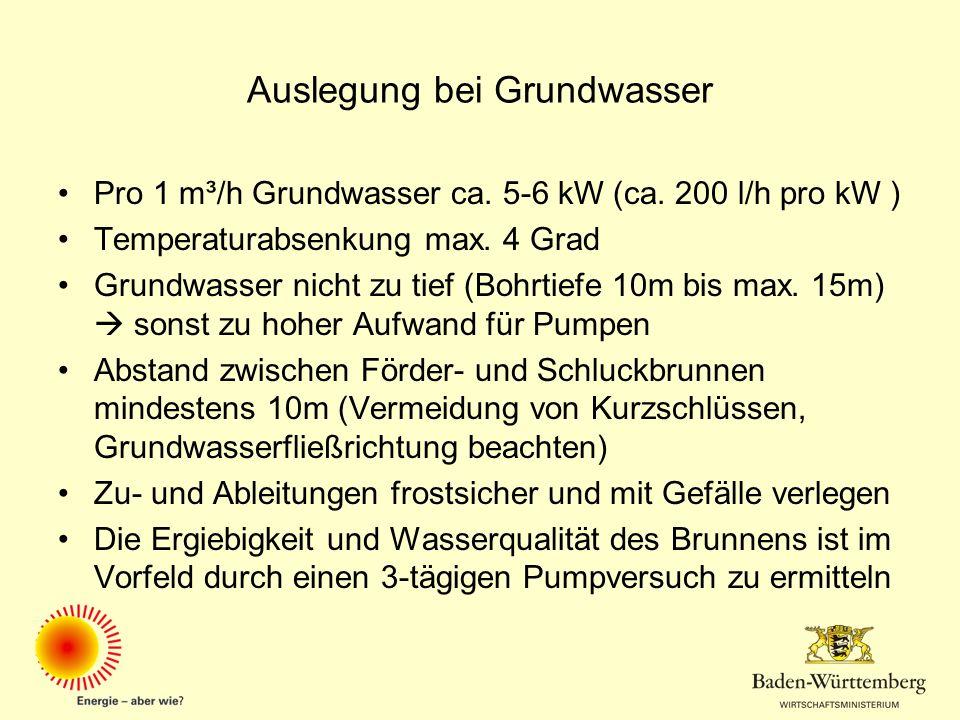 Auslegung bei Grundwasser Pro 1 m³/h Grundwasser ca. 5-6 kW (ca. 200 l/h pro kW ) Temperaturabsenkung max. 4 Grad Grundwasser nicht zu tief (Bohrtiefe