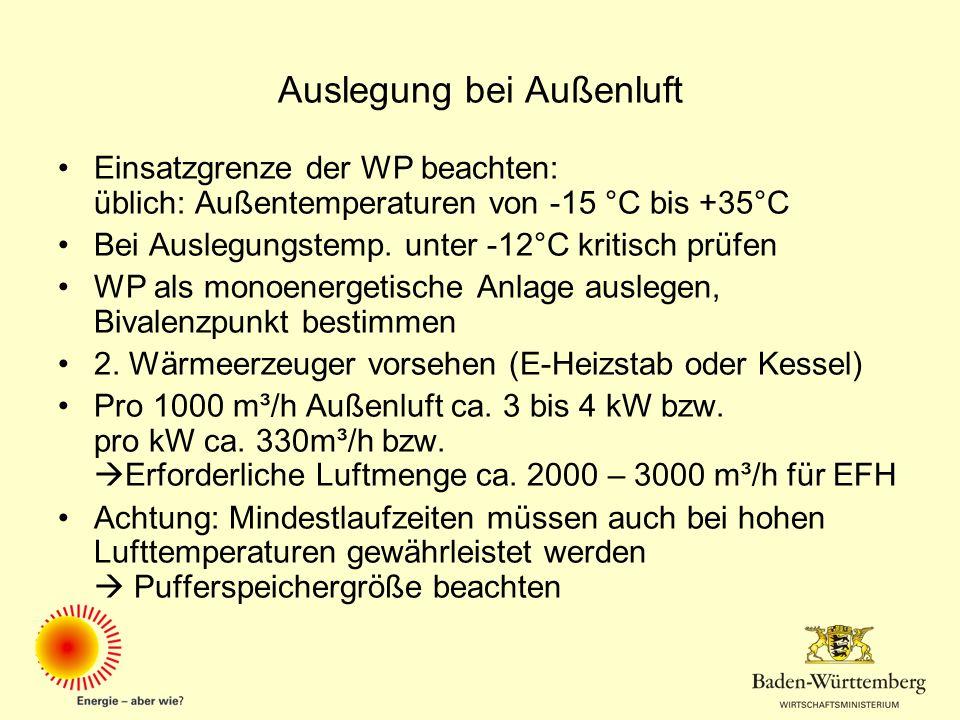 Auslegung bei Außenluft Einsatzgrenze der WP beachten: üblich: Außentemperaturen von -15 °C bis +35°C Bei Auslegungstemp. unter -12°C kritisch prüfen