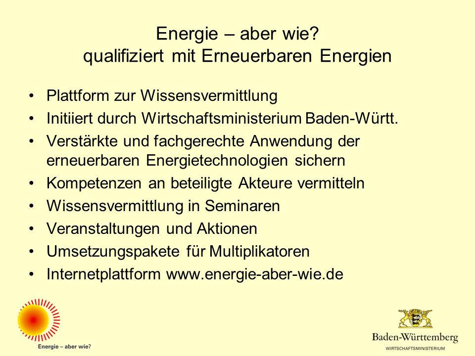 Energie – aber wie? qualifiziert mit Erneuerbaren Energien Plattform zur Wissensvermittlung Initiiert durch Wirtschaftsministerium Baden-Württ. Verstä