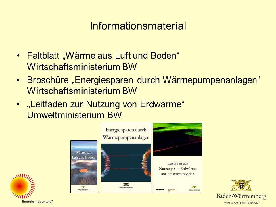 Informationsmaterial Faltblatt Wärme aus Luft und Boden Wirtschaftsministerium BW Broschüre Energiesparen durch Wärmepumpenanlagen Wirtschaftsminister