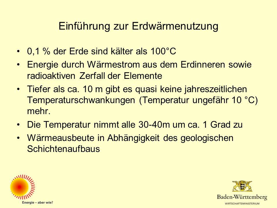 Einführung zur Erdwärmenutzung 0,1 % der Erde sind kälter als 100°C Energie durch Wärmestrom aus dem Erdinneren sowie radioaktiven Zerfall der Element