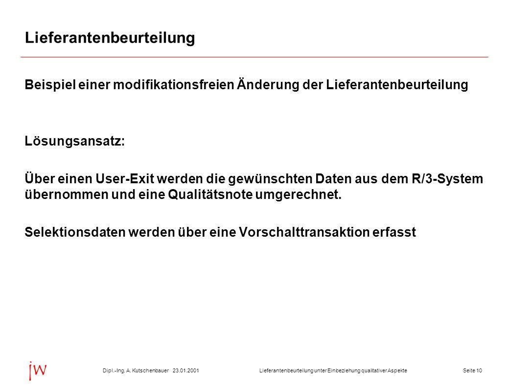 Seite 1023.01.2001Dipl.-Ing. A. KutschenbauerLieferantenbeurteilung unter Einbeziehung qualitativer Aspekte jw Lieferantenbeurteilung Beispiel einer m