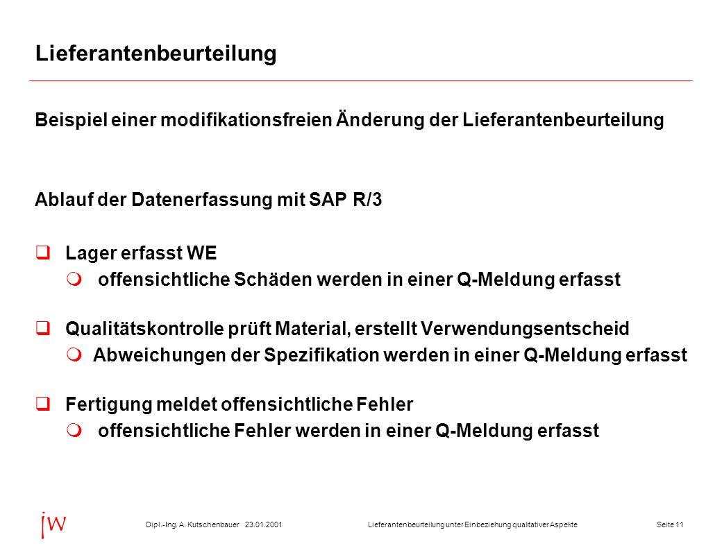 Seite 1123.01.2001Dipl.-Ing. A. KutschenbauerLieferantenbeurteilung unter Einbeziehung qualitativer Aspekte jw Lieferantenbeurteilung Beispiel einer m
