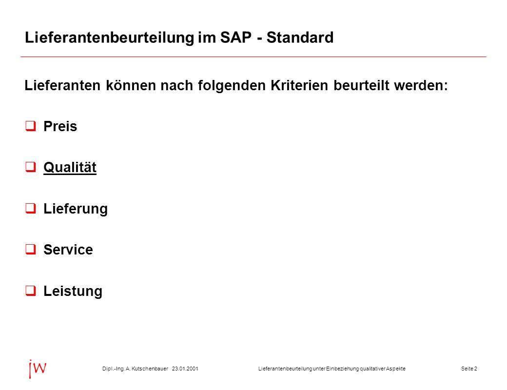 Seite 223.01.2001Dipl.-Ing. A. KutschenbauerLieferantenbeurteilung unter Einbeziehung qualitativer Aspekte jw Lieferantenbeurteilung im SAP - Standard