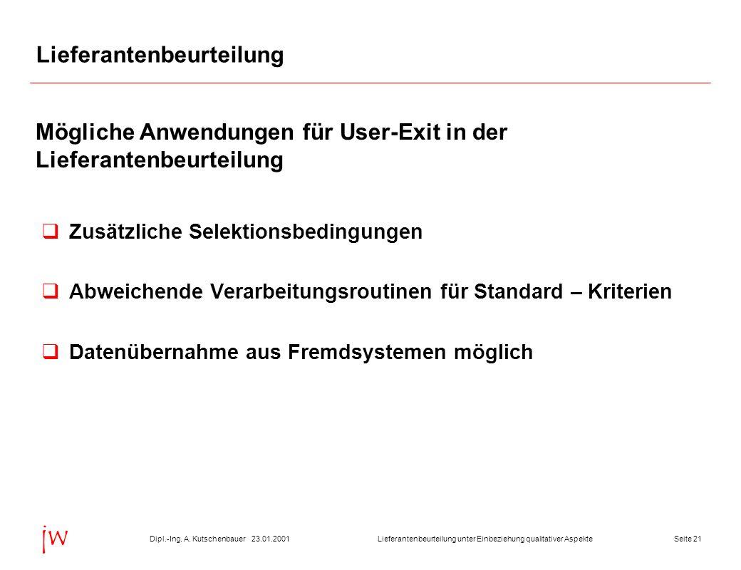 Seite 2123.01.2001Dipl.-Ing. A. KutschenbauerLieferantenbeurteilung unter Einbeziehung qualitativer Aspekte jw Lieferantenbeurteilung Zusätzliche Sele