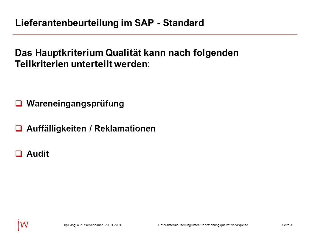 Seite 323.01.2001Dipl.-Ing. A. KutschenbauerLieferantenbeurteilung unter Einbeziehung qualitativer Aspekte jw Lieferantenbeurteilung im SAP - Standard