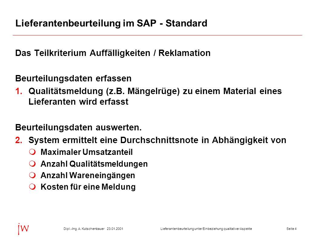 Seite 423.01.2001Dipl.-Ing. A. KutschenbauerLieferantenbeurteilung unter Einbeziehung qualitativer Aspekte jw Lieferantenbeurteilung im SAP - Standard