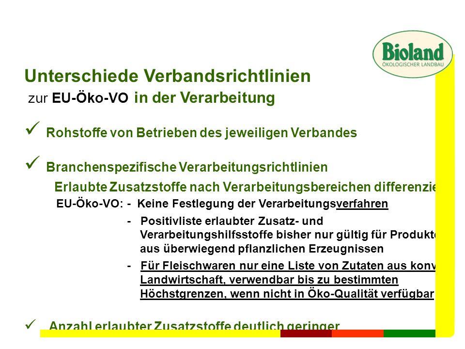 Unterschiede Verbandsrichtlinien zur EU-Öko-VO in der Verarbeitung Rohstoffe von Betrieben des jeweiligen Verbandes Branchenspezifische Verarbeitungsr