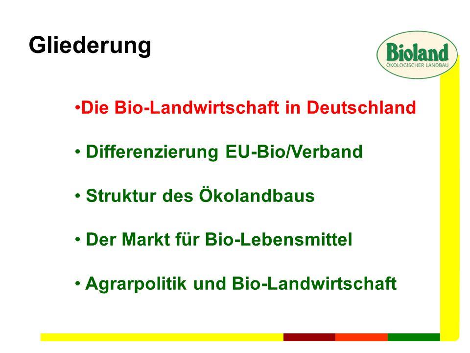 Gliederung Die Bio-Landwirtschaft in Deutschland Differenzierung EU-Bio/Verband Struktur des Ökolandbaus Der Markt für Bio-Lebensmittel Agrarpolitik u