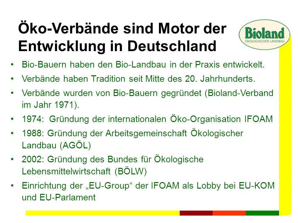 Die Verbände des ökologischen Landbaus entwickelten Richtlinien für biologische Landwirtschaft und Lebensmittelherstellung lange vor der EU-Öko-VO Acht Ökolandbauverbände gibt es in Deutschland Die vier größten sind: organisiert Erzeuger weltweit Mitglieder-stärkster Verband in Deutschland ältester VerbandSchwerpunkt Neue Bundesländer