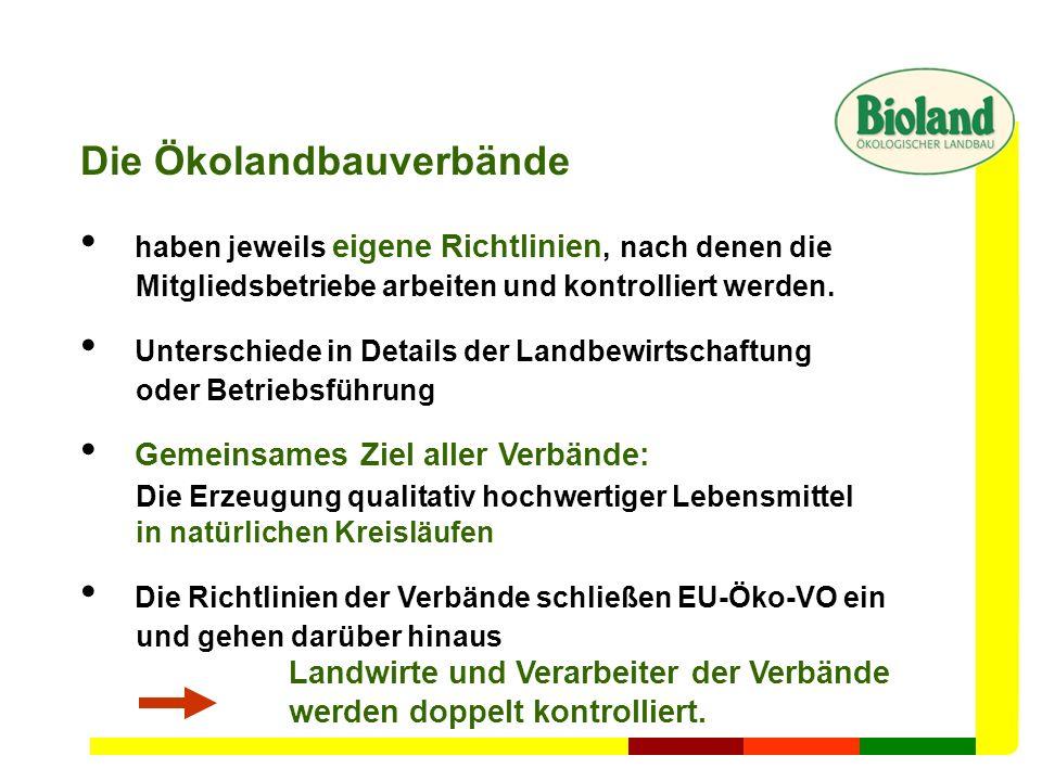 Die Ökolandbauverbände haben jeweils eigene Richtlinien, nach denen die Mitgliedsbetriebe arbeiten und kontrolliert werden. Unterschiede in Details de