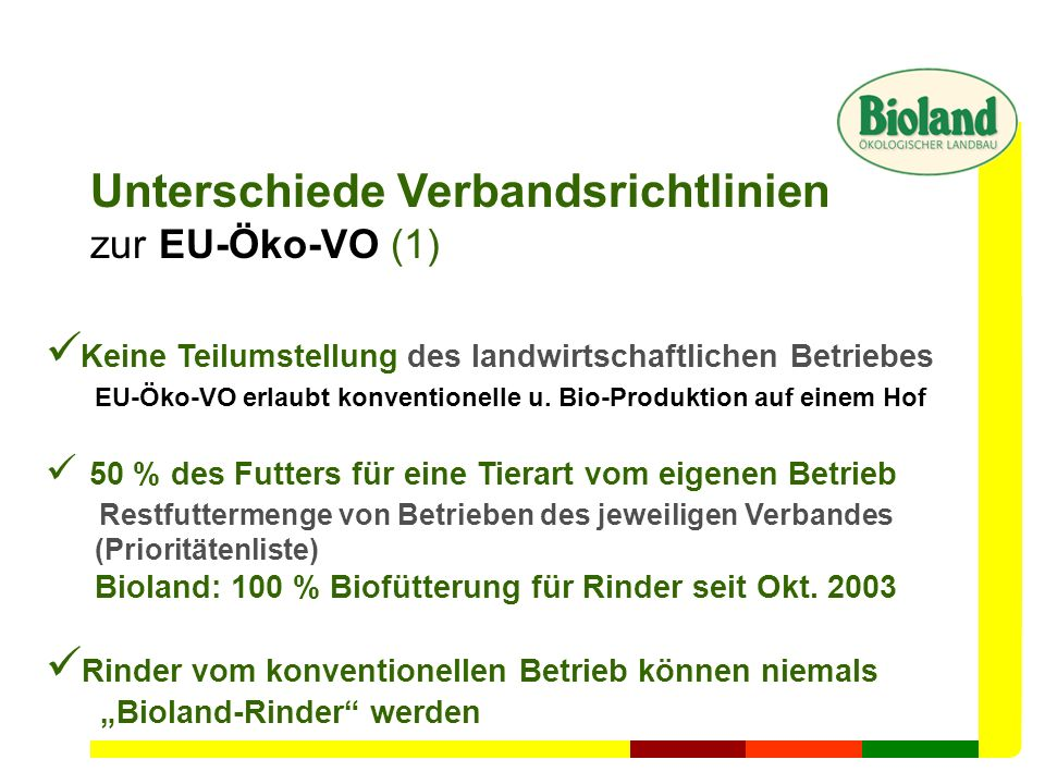 Unterschiede Verbandsrichtlinien zur EU-Öko-VO (1) Keine Teilumstellung des landwirtschaftlichen Betriebes EU-Öko-VO erlaubt konventionelle u. Bio-Pro