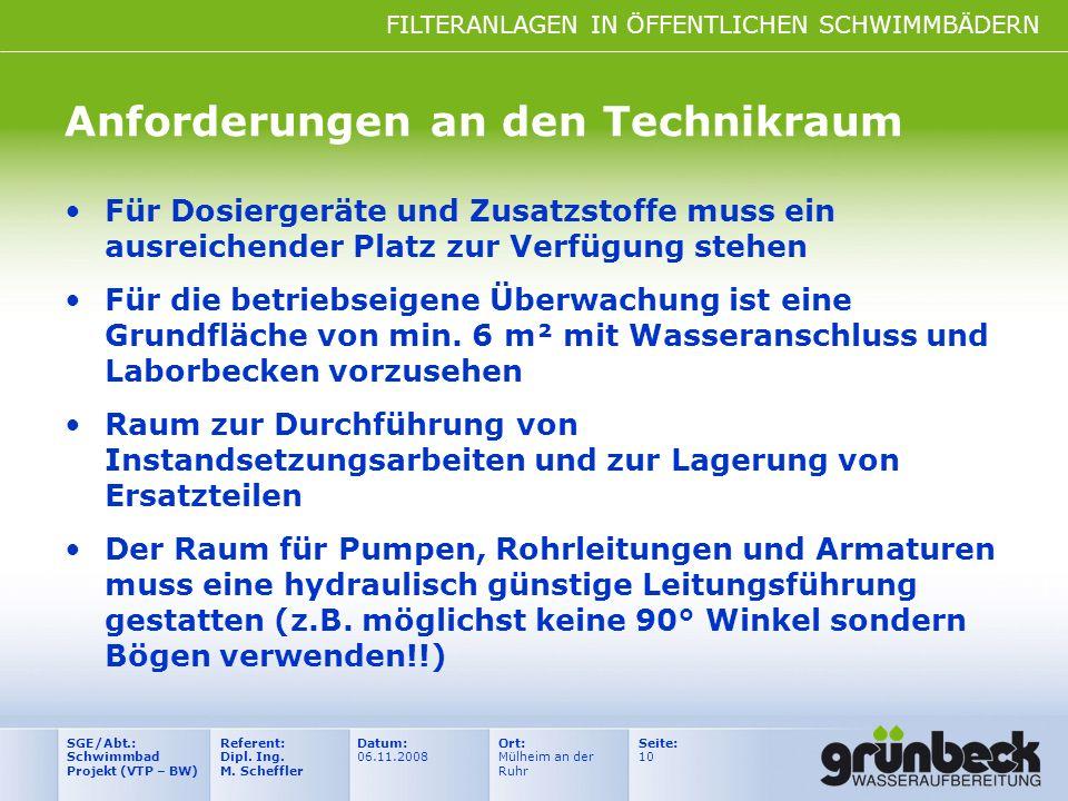 FILTERANLAGEN IN ÖFFENTLICHEN SCHWIMMBÄDERN Datum: 06.11.2008 Ort: Mülheim an der Ruhr Seite: 10 Referent: Dipl. Ing. M. Scheffler SGE/Abt.: Schwimmba
