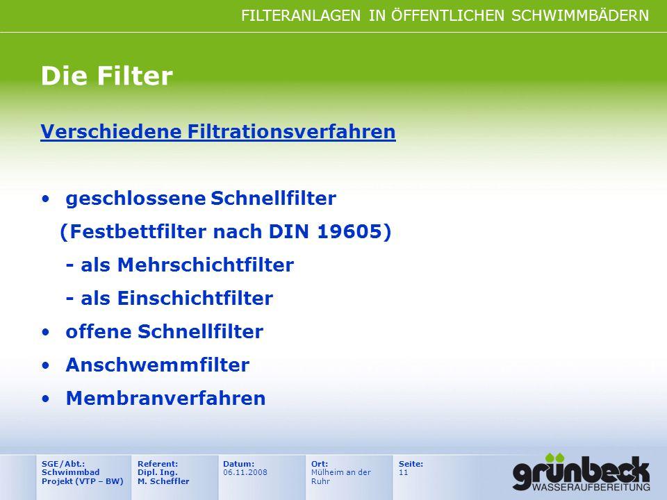 FILTERANLAGEN IN ÖFFENTLICHEN SCHWIMMBÄDERN Datum: 06.11.2008 Ort: Mülheim an der Ruhr Seite: 11 Referent: Dipl. Ing. M. Scheffler SGE/Abt.: Schwimmba