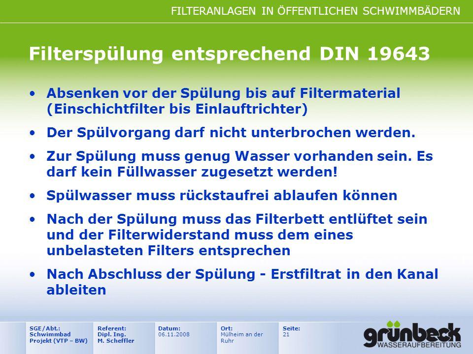 FILTERANLAGEN IN ÖFFENTLICHEN SCHWIMMBÄDERN Datum: 06.11.2008 Ort: Mülheim an der Ruhr Seite: 21 Referent: Dipl. Ing. M. Scheffler SGE/Abt.: Schwimmba