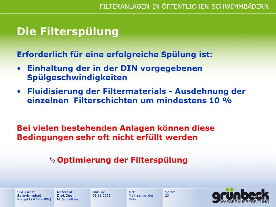 FILTERANLAGEN IN ÖFFENTLICHEN SCHWIMMBÄDERN Datum: 06.11.2008 Ort: Mülheim an der Ruhr Seite: 23 Referent: Dipl. Ing. M. Scheffler SGE/Abt.: Schwimmba