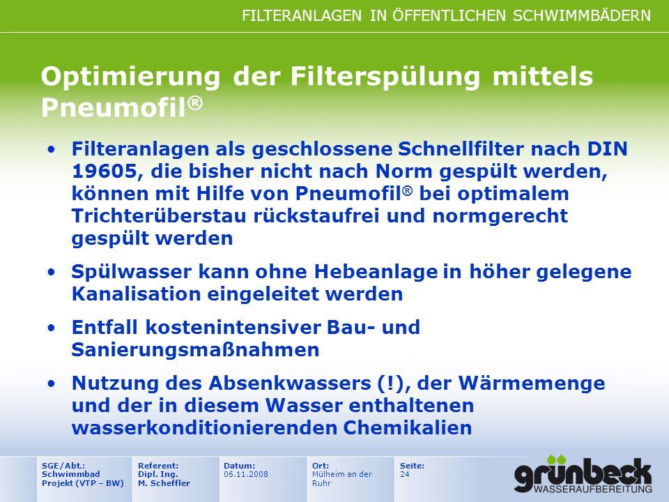 FILTERANLAGEN IN ÖFFENTLICHEN SCHWIMMBÄDERN Datum: 06.11.2008 Ort: Mülheim an der Ruhr Seite: 24 Referent: Dipl. Ing. M. Scheffler SGE/Abt.: Schwimmba