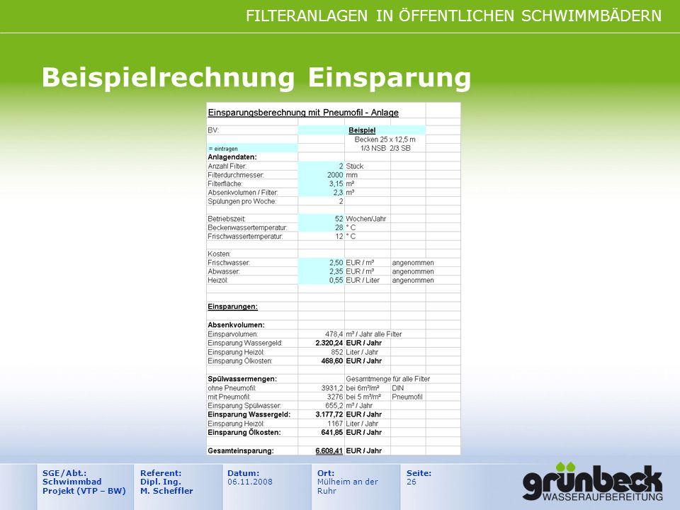 FILTERANLAGEN IN ÖFFENTLICHEN SCHWIMMBÄDERN Datum: 06.11.2008 Ort: Mülheim an der Ruhr Seite: 26 Referent: Dipl. Ing. M. Scheffler SGE/Abt.: Schwimmba
