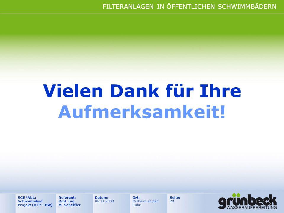 FILTERANLAGEN IN ÖFFENTLICHEN SCHWIMMBÄDERN Datum: 06.11.2008 Ort: Mülheim an der Ruhr Seite: 28 Referent: Dipl. Ing. M. Scheffler SGE/Abt.: Schwimmba