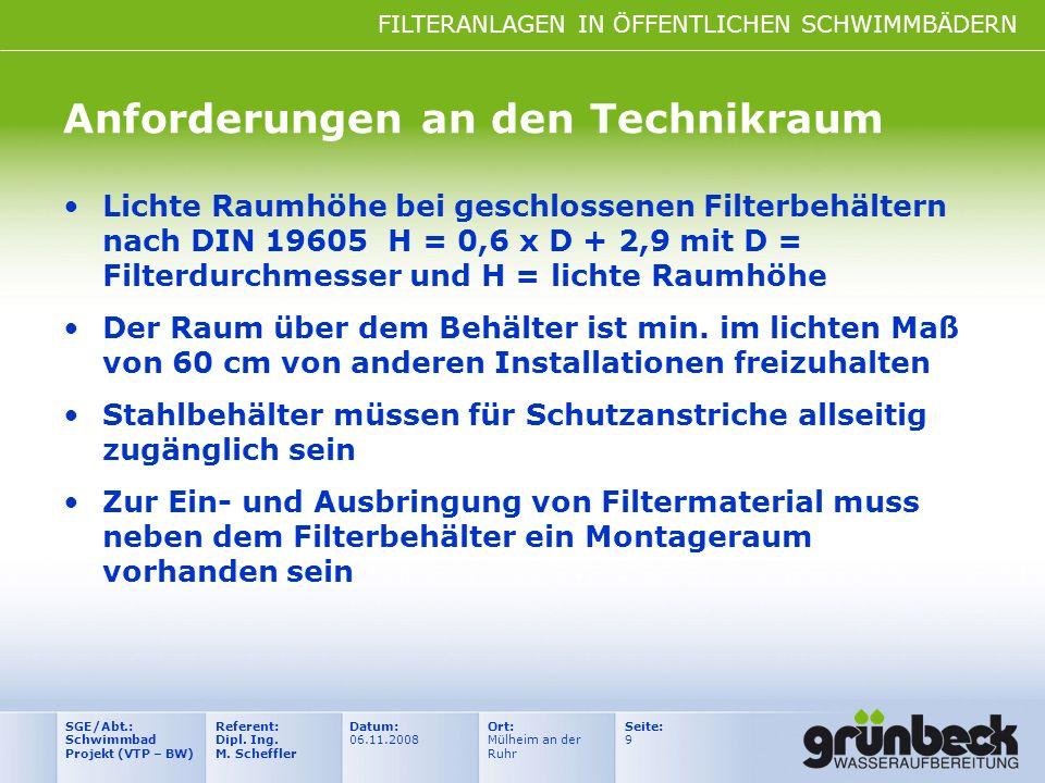 FILTERANLAGEN IN ÖFFENTLICHEN SCHWIMMBÄDERN Datum: 06.11.2008 Ort: Mülheim an der Ruhr Seite: 9 Referent: Dipl. Ing. M. Scheffler SGE/Abt.: Schwimmbad