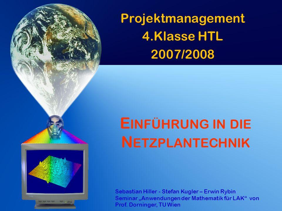 Z EIT & T ERMINPLANUNG : D ETERMINISTISCHE M ODELLE II Critical Path Method (CPM) o Ausgangspunkt: Vorgangspfeilnetz u Mit Ende-Start-Beziehung.