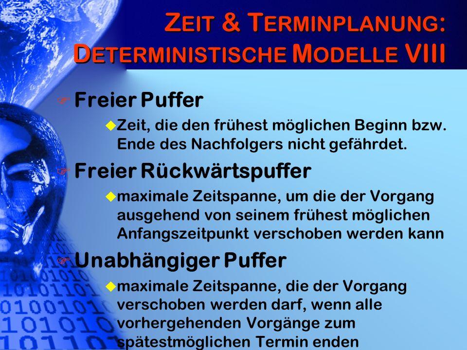 Z EIT & T ERMINPLANUNG : D ETERMINISTISCHE M ODELLE VIII Freier Puffer u Zeit, die den frühest möglichen Beginn bzw. Ende des Nachfolgers nicht gefähr