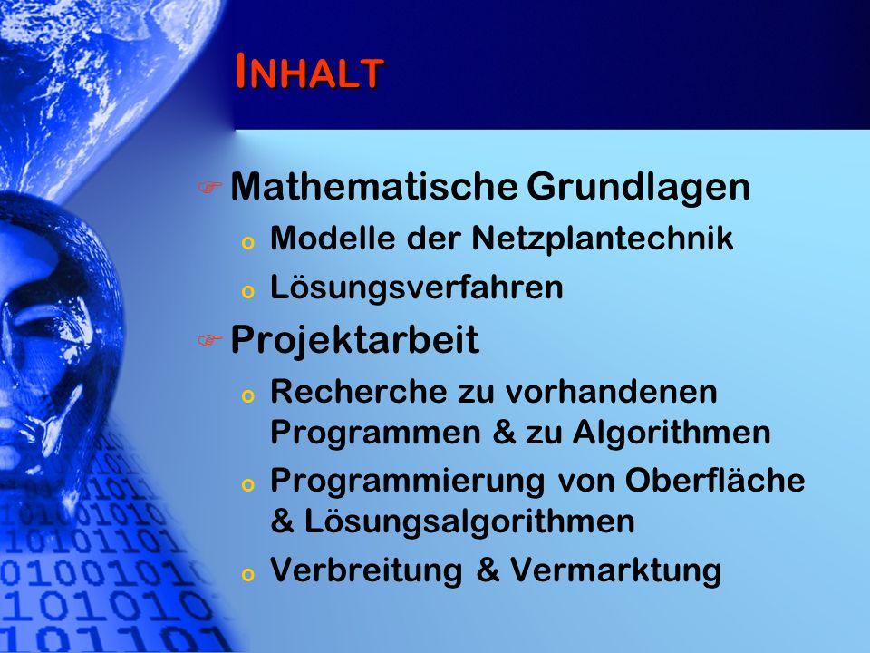 I NHALT Mathematische Grundlagen o Modelle der Netzplantechnik o Lösungsverfahren Projektarbeit o Recherche zu vorhandenen Programmen & zu Algorithmen