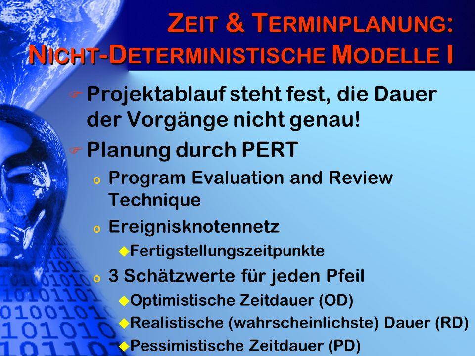 Z EIT & T ERMINPLANUNG : N ICHT -D ETERMINISTISCHE M ODELLE I Projektablauf steht fest, die Dauer der Vorgänge nicht genau! Planung durch PERT o Progr