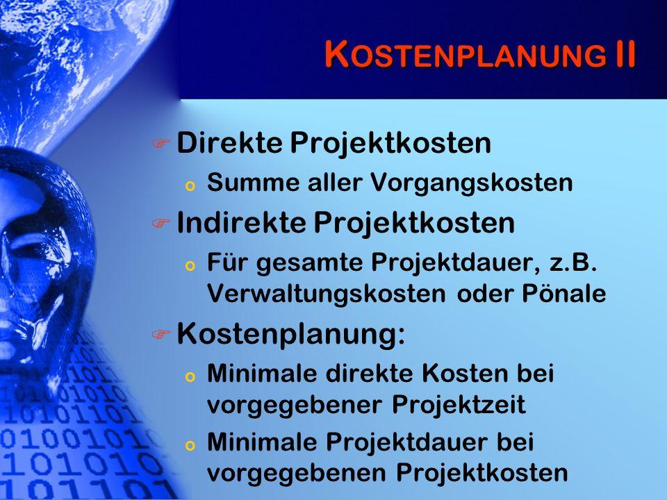 K OSTENPLANUNG II Direkte Projektkosten o Summe aller Vorgangskosten Indirekte Projektkosten o Für gesamte Projektdauer, z.B. Verwaltungskosten oder P