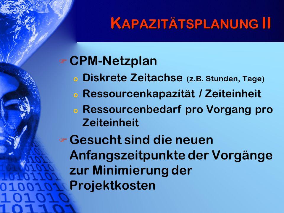 K APAZITÄTSPLANUNG II CPM-Netzplan o Diskrete Zeitachse (z.B. Stunden, Tage) o Ressourcenkapazität / Zeiteinheit o Ressourcenbedarf pro Vorgang pro Ze