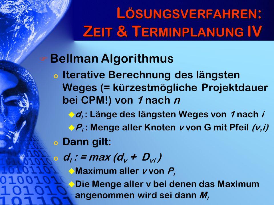 L ÖSUNGSVERFAHREN : Z EIT & T ERMINPLANUNG IV Bellman Algorithmus o Iterative Berechnung des längsten Weges (= kürzestmögliche Projektdauer bei CPM!)