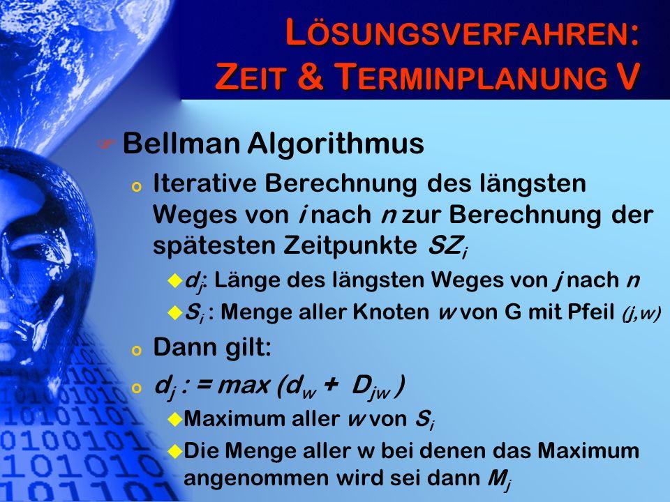 L ÖSUNGSVERFAHREN : Z EIT & T ERMINPLANUNG V Bellman Algorithmus o Iterative Berechnung des längsten Weges von i nach n zur Berechnung der spätesten Z