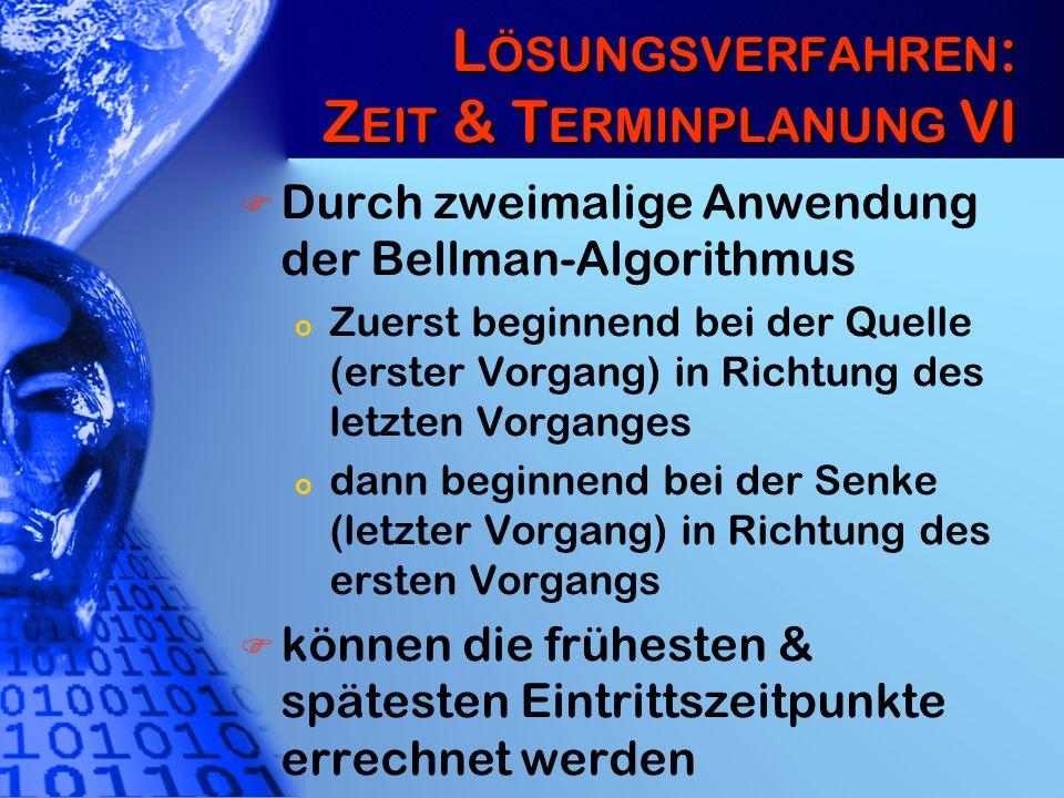 L ÖSUNGSVERFAHREN : Z EIT & T ERMINPLANUNG VI Durch zweimalige Anwendung der Bellman-Algorithmus o Zuerst beginnend bei der Quelle (erster Vorgang) in