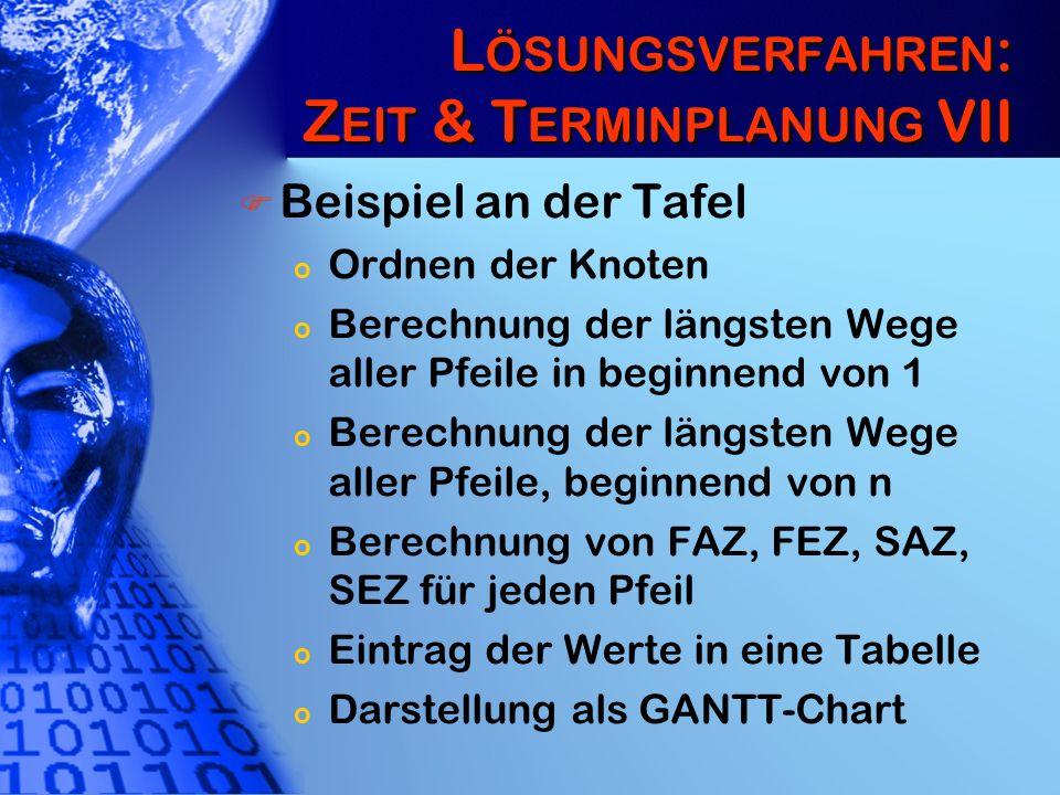 L ÖSUNGSVERFAHREN : Z EIT & T ERMINPLANUNG VII Beispiel an der Tafel o Ordnen der Knoten o Berechnung der längsten Wege aller Pfeile in beginnend von
