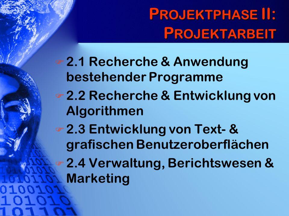 P ROJEKTPHASE II: P ROJEKTARBEIT 2.1 Recherche & Anwendung bestehender Programme 2.2 Recherche & Entwicklung von Algorithmen 2.3 Entwicklung von Text-