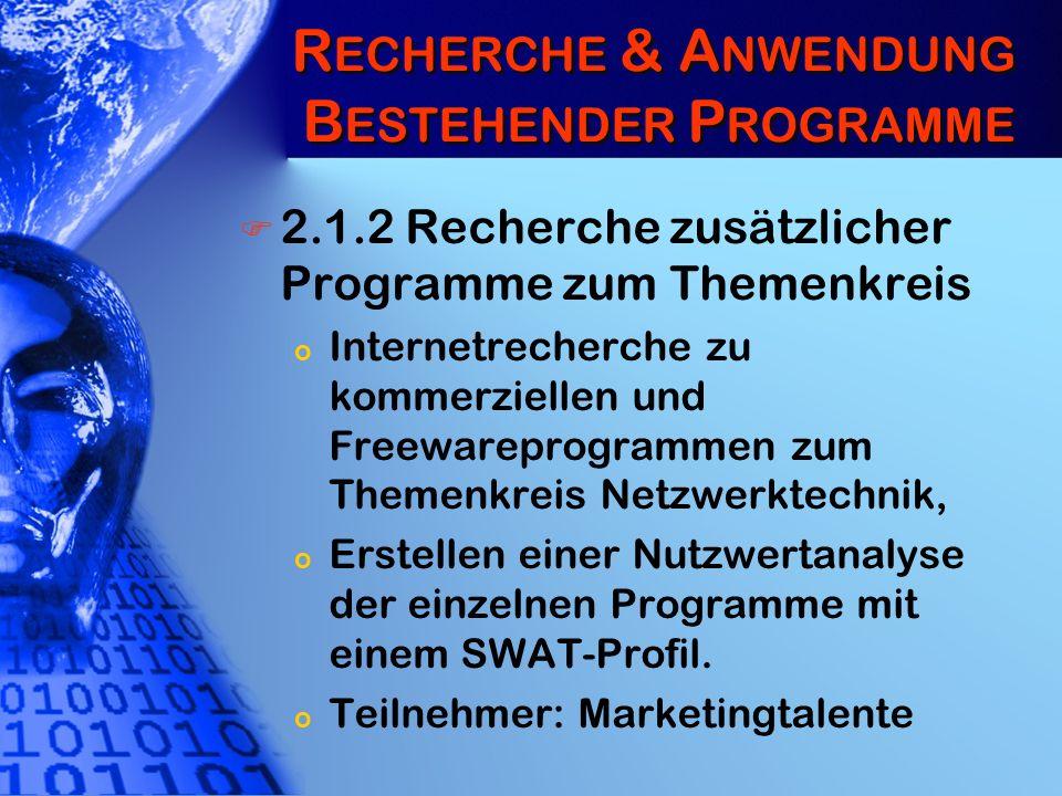 R ECHERCHE & A NWENDUNG B ESTEHENDER P ROGRAMME 2.1.2 Recherche zusätzlicher Programme zum Themenkreis o Internetrecherche zu kommerziellen und Freewa