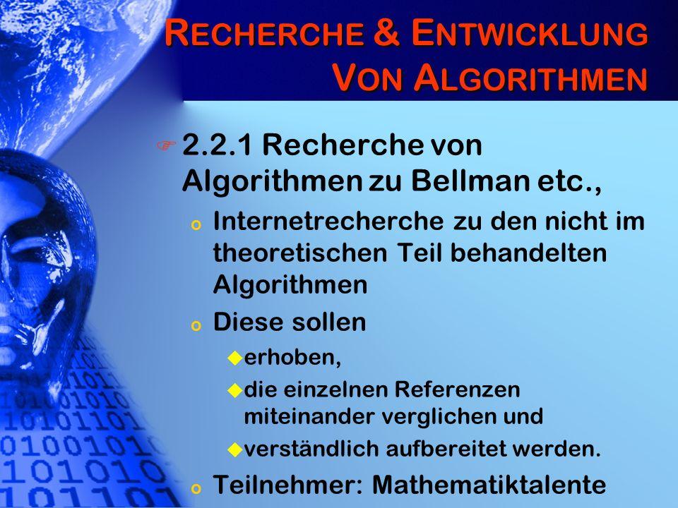 R ECHERCHE & E NTWICKLUNG V ON A LGORITHMEN 2.2.1 Recherche von Algorithmen zu Bellman etc., o Internetrecherche zu den nicht im theoretischen Teil be